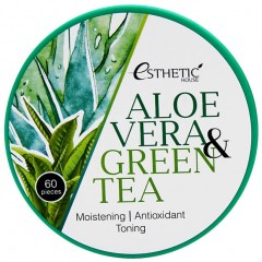 Esthetic House патчи для глаз гидрогель алоэ/зеленый чай Aloe Vera & Green Tea Hydrogel Eye Patch - 60 шт.