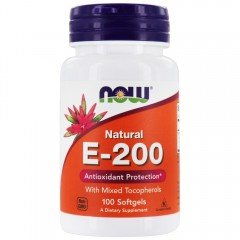 Витамин Е NOW Vitamin E-200 Mixed Tocopherols - 100 гел. капсул