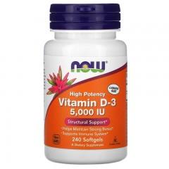 Витамин Д3 125 мкг NOW Vitamin D3 5000 IU - 240 гелевых капсул