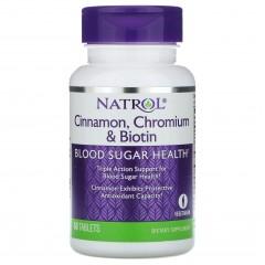 Для поддержания уровня сахара в крови Natrol Cinnamon, Chromium & Biotin - 60 таблеток