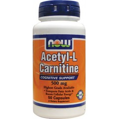 NOW Acetyl-L-Carnitine 500 mg - 50 капсул