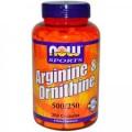 NOW Arginine & Ornithine (500мг/250мг) 250 капс.